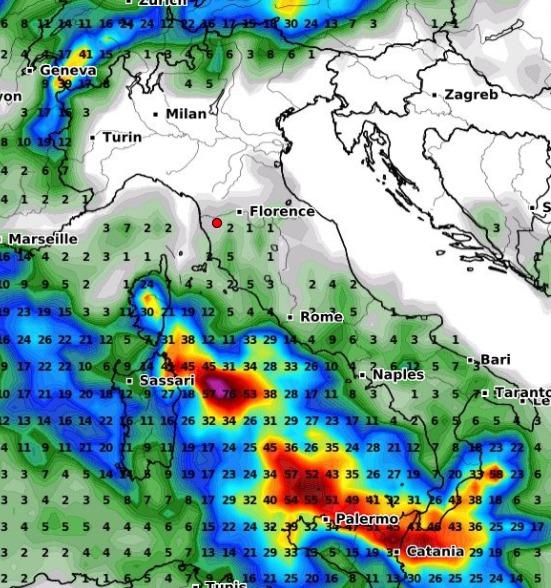 Forti piogge sulle Isole Maggiori