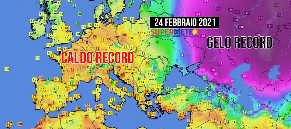 Eccezionali contrasti termici in Europa