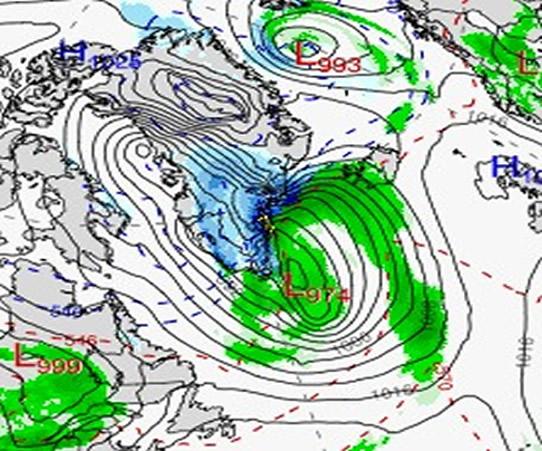 Raro Uragano di neve in Groenlandia