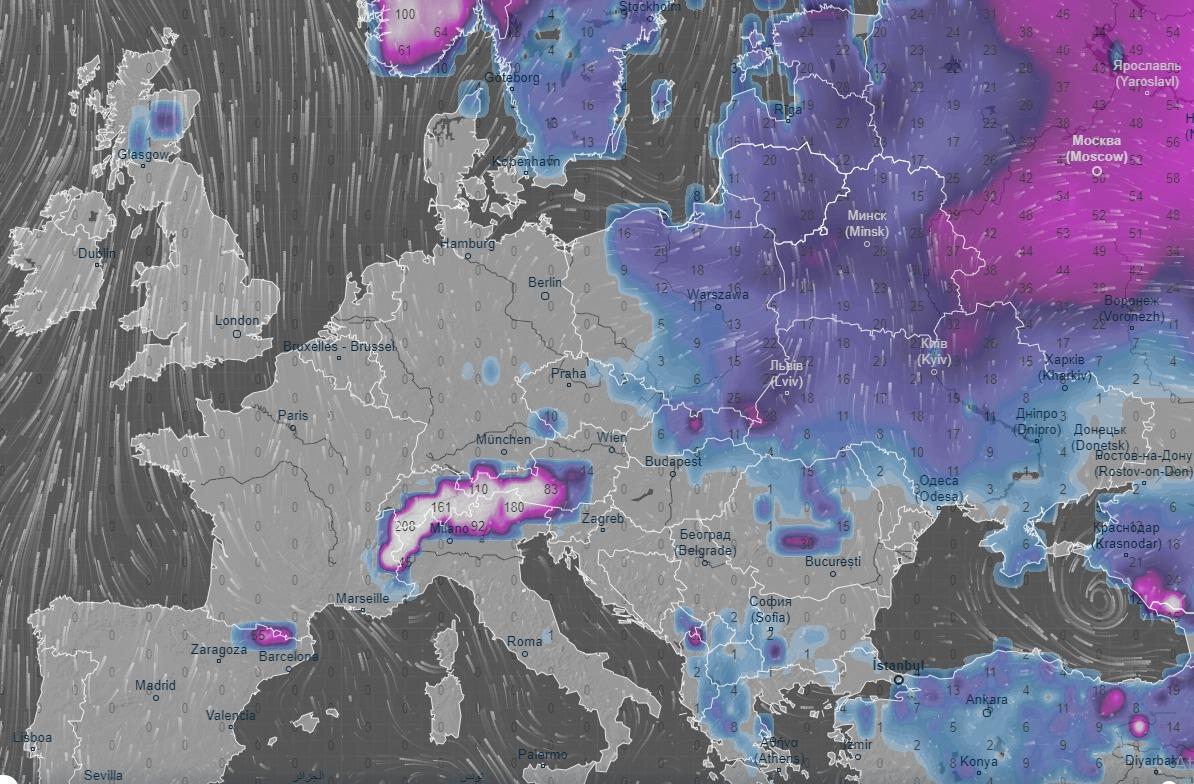 Manto nevoso in ritirata dall'Europa