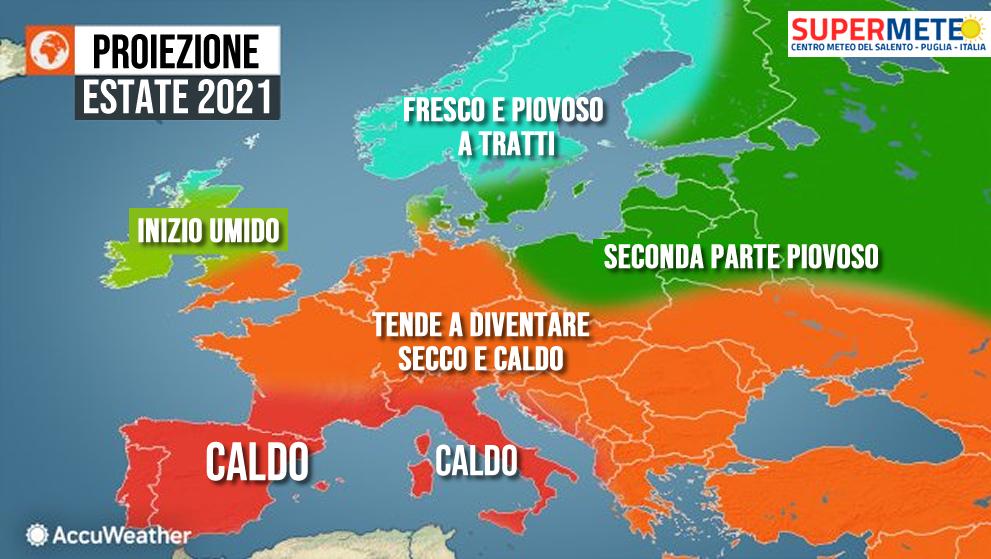 Estate 2021 calda secondo le previsioni - Proiezioni