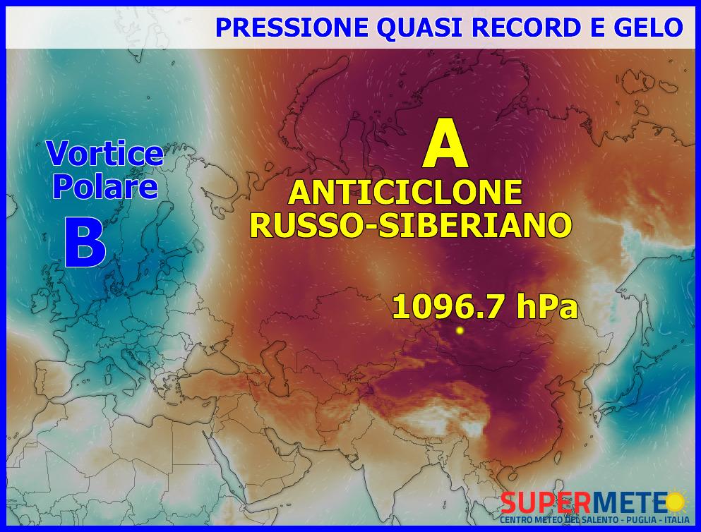 Possente Anticiclone Siberiano Gelo Record Pressione