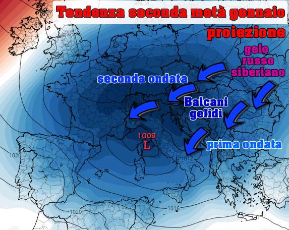 Due ondate siberiane sull'Europa  in prospettiva