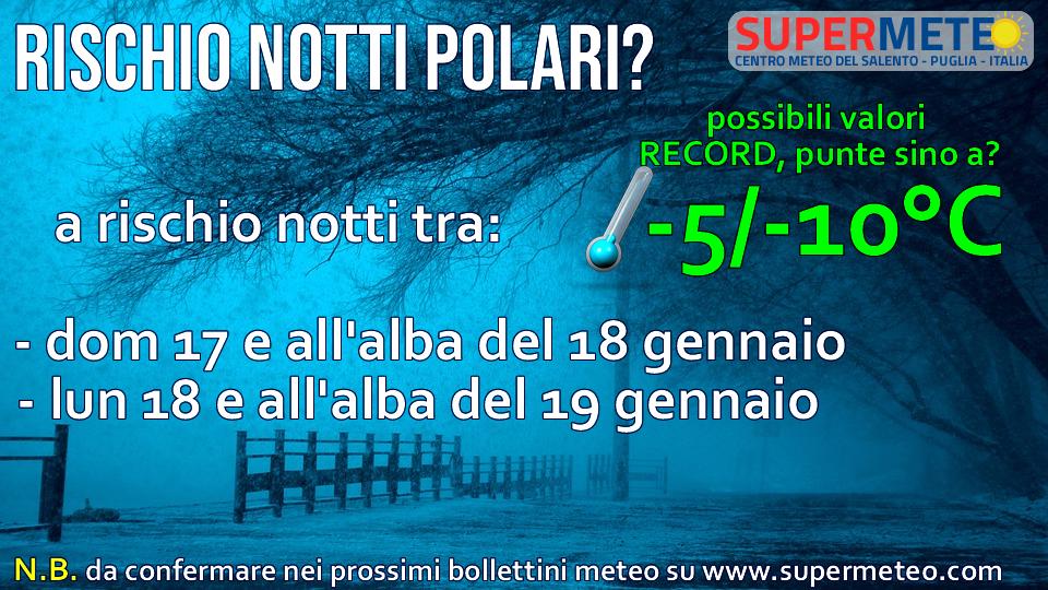 Possibili valori polari record negativi di notte